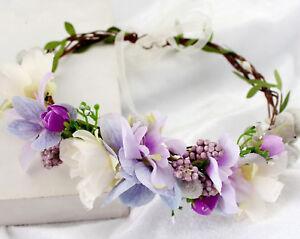 Women-flower-Girl-wedding-Purple-bride-Party-Hair-Headband-Crown-Prop-Garland