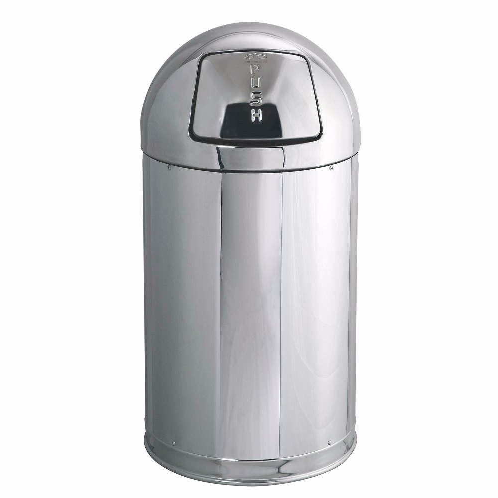 Top Decorative Fire-Resistant Trash Can, 30 H, Silber,12 gal. (4HGP7-WH02)