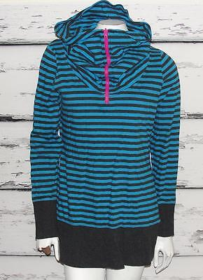THE NORTH FACE~STRIPED *ZIPPER COWL NECK* SWEATSHIRT~SLIM FIT PULLOVER SWEATER~L