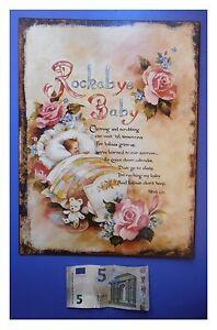 Targa-vintage-034-Rockabye-Baby-orso-peluche-culla-rose-034-metallo-cm-33x25