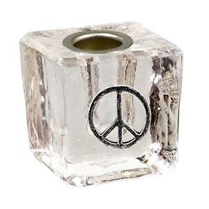 Image Is Loading Clear Peace Sign Gl Mini Candle Holder