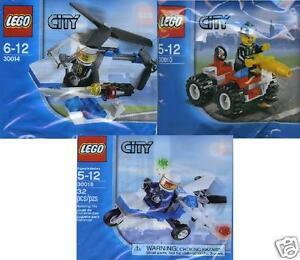 3x-Lego-City-Promos-30010-Feuerwehr-30014-Helicopter-30018-Polizei-Flugzeug