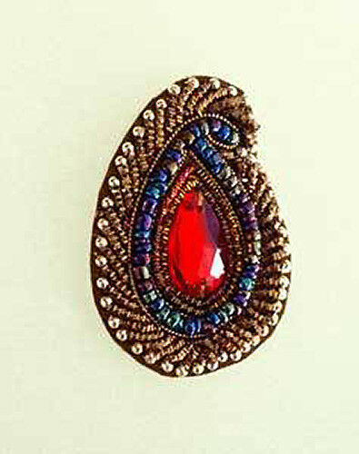 5 Hand-Beaded Paisley Appliques Red Faux Gems