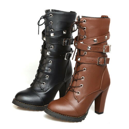 New Womens Punk High Heel Lace Up Mid Calf Rivet Combat Knight Boots Shoes Size
