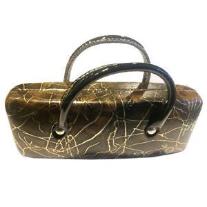 Brillenetui-Brillenbox-Handtaschen-Design-mit-Henkel-Hartschale-dunkelbraun