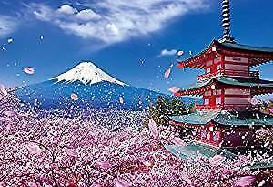 1000 Piece Jigsaw Puzzle World Heritage Fuji and Sakura dance Asama Shrine