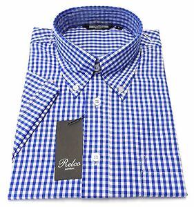 Relco Homme Bleu Marine Bleu Polo Shirt avec Tartan Carreaux Col Boutonné Mod Vintage