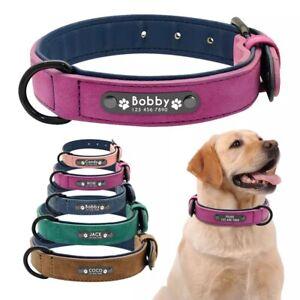 à vendre design de qualité faire les courses pour Détails sur COLLIER chien en cuir a personnalisé NOM et NUMERO taille S a  XXL petit a gros