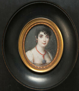 Antique-French-Empire-Portrait-Miniature-of-Lady-with-Red-Coral-Jewelry-c-1800