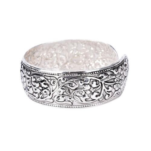 New Tibetan Silver Totem Bangle Carved Lucky Flower Bangle Cuff Bracelet  ^YH