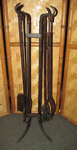 Rustic Prmitive Hand Forged Iron Fireplace Tool Set Black Copper 32 Tall Ebay