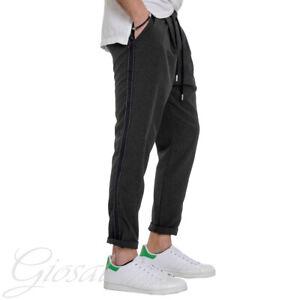 Pantalone-Uomo-Elastico-Nero-Casual-Tasca-America-Cavallo-Basso-GIOSAL