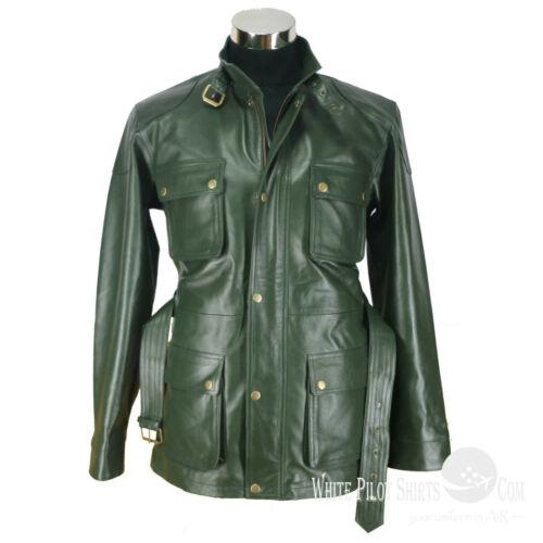 Panther Army Green Mens Genuine Leather Jacket Belt Vintage Motorbike Military