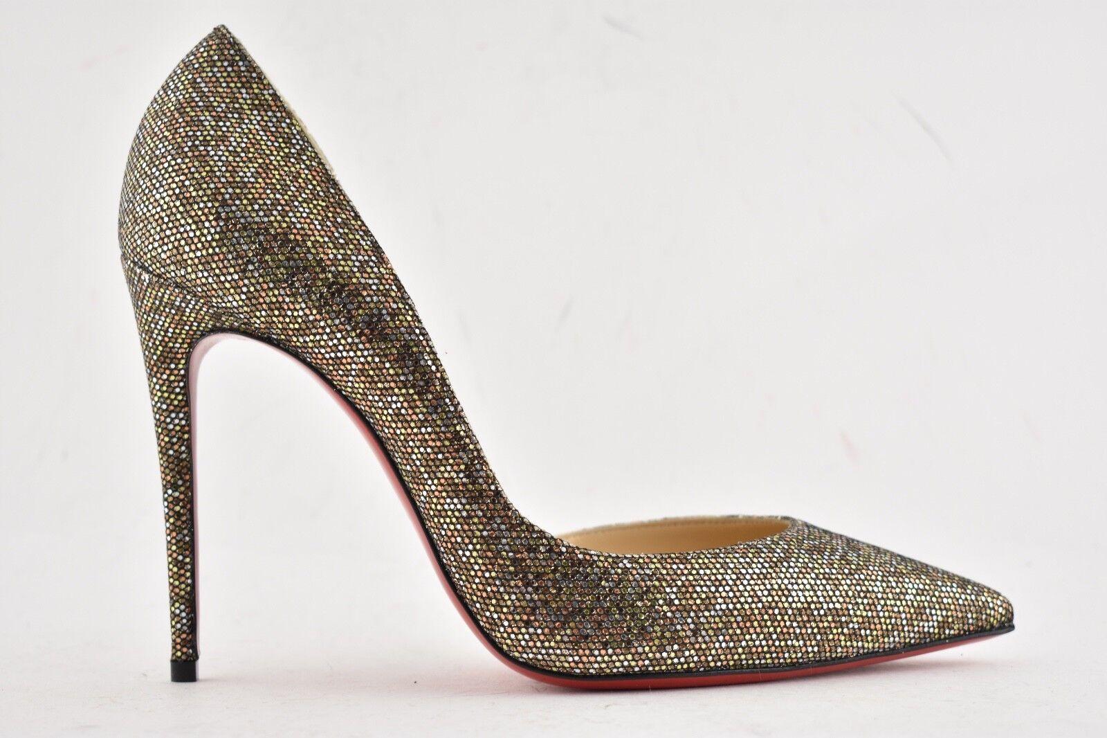 NIB Christian Louboutin Iriza 100 gold Bronze Glitter Regina Oxy Heel Pump 41.5