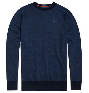 Superdry Men's orange Label Cotton Crew Knit Jumper Dark Navy Birdseye S-XXXL