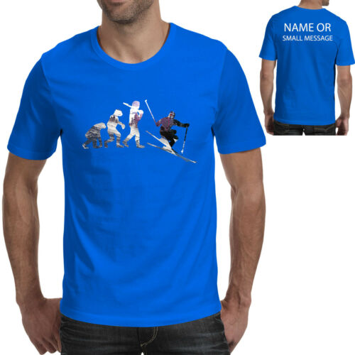 Evolution of Running Personalised T-Shirt Funny Gift Ape to Man Ski Skier Snow