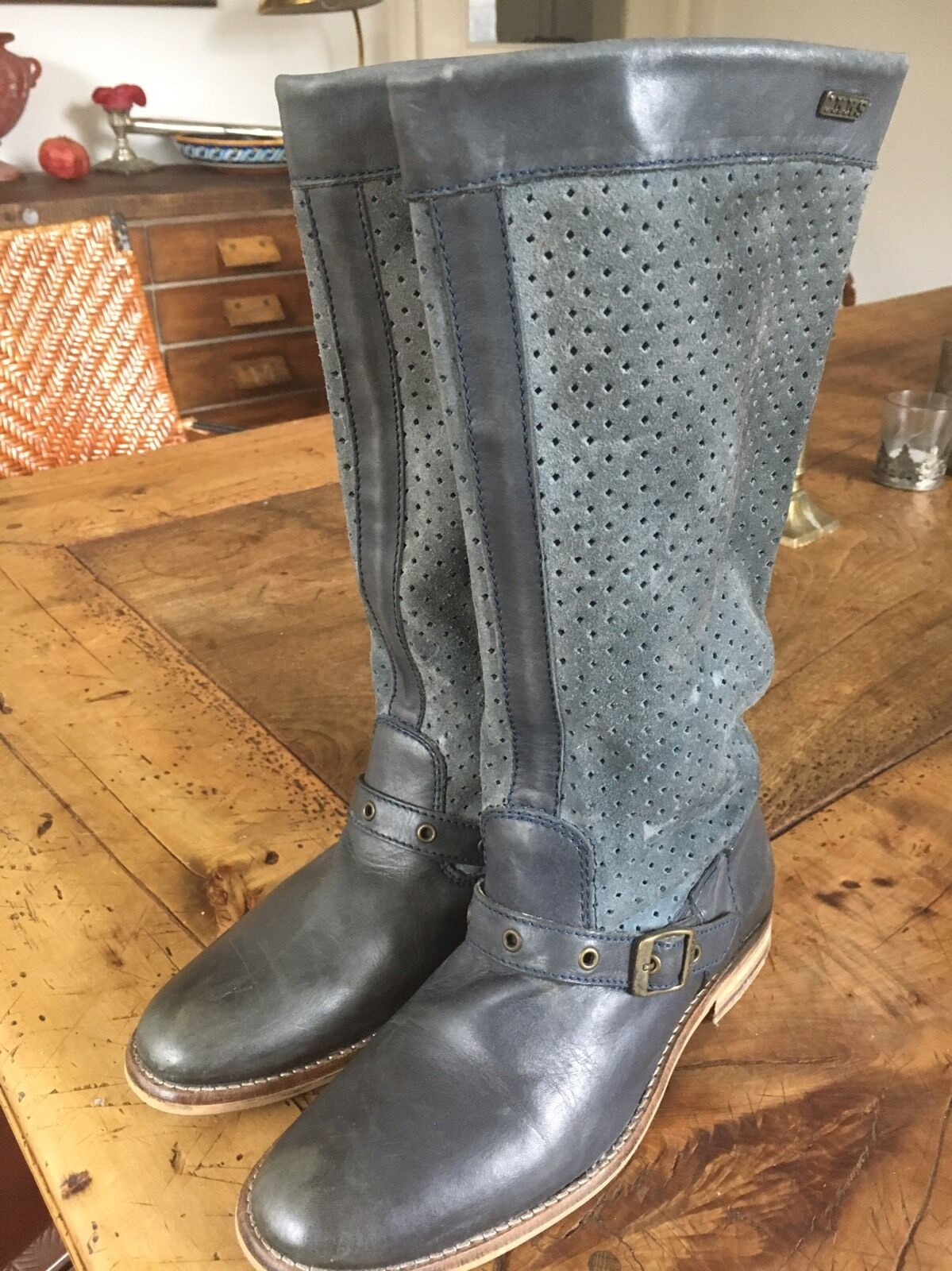 IKKS Stiefel blau grau Wildleder Leder Gr. 38 wie neu  Lochmuster