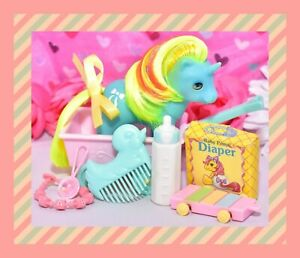 My-Little-Pony-MLP-G1-Vtg-1986-Baby-Ribbon-Beddy-Bye-Unicorn-BBE-Accessories