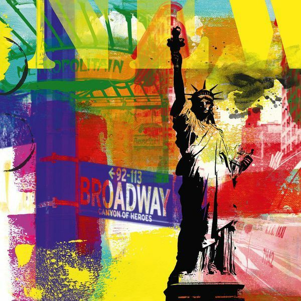 Lucy Cloud: Big Apple Keilrahmen-Bild 88x88 New York Collage modern Pop