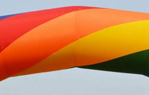 Brand New Discount 10m Inflatable Rainbow Arch with Fan a