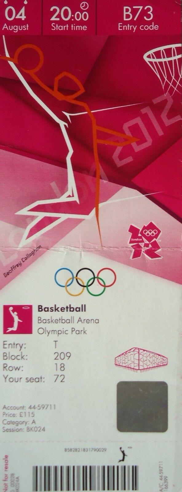 Billet Billet Billet Olympia 4.8.2012 Men 's Basketball Grande-Bretagne-Australie b73 bac5d2