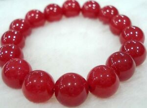 Natural-10mm-Red-Jade-Round-Gems-Beads-Elastic-Bracelet-AAA-7-5-inches