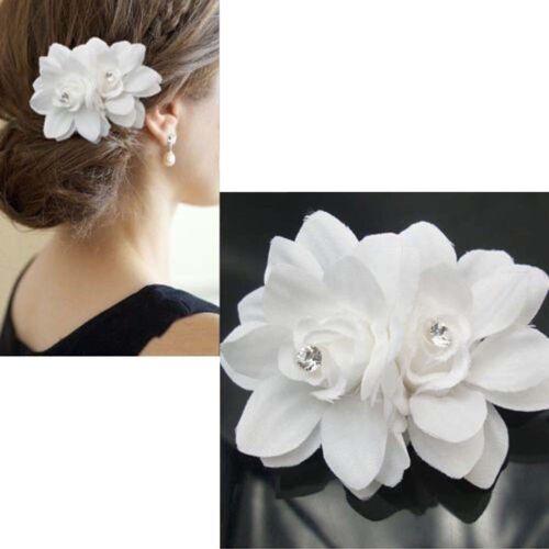 Bioutifoule Cheveux Barrette Fleur Broche Mariée Mariage Bal Party pour fille femme Georgia