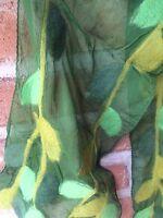 Silk Scarf Nuno Felted Wool Handmade Nepal Boho Hippie Moms Day Gift Green