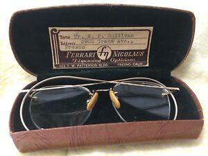 aea1f5a1e1c Antique VTG Shuron 1 10 12k Gold Filled Oval Wire Rimmed Eye Glasses ...