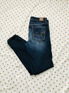 American-Eagle-Womens-High-Rise-Jegging-Super-Stretch-Blue-Size-12-Long