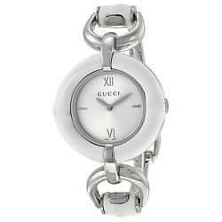 GUCCI Silver Dial White Bamboo Stainless Steel Ladies Watch