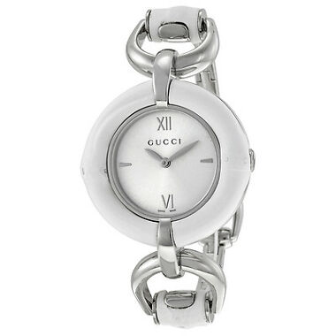 GUCCI Silver Dial White Bamboo Ladies Watch