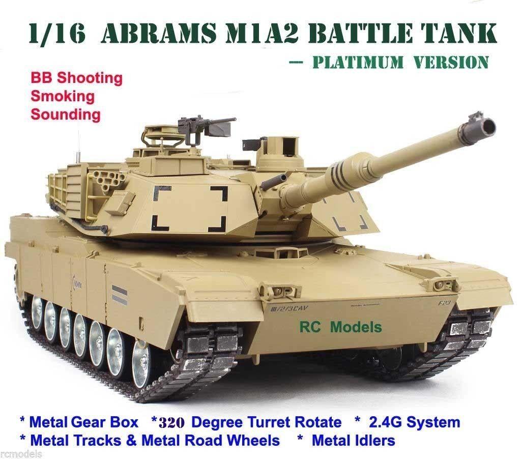 Radio Telecomando RC TANK M1A2 Abrams Heng Long Tank 1 16 grandi -- Platinum
