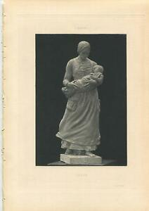 ANTIQUE MOURNING SORROW JOY WIDOW MOTHER NEW BABY INFANT CHILD SCULPTURE PRINT