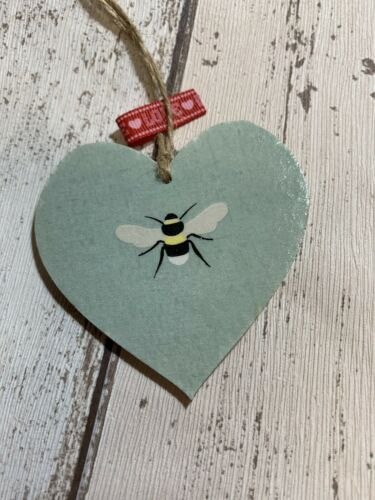 SHABBY CHIC Decoupage Wooden Heart 8cm Bumble Bee Sophie Allport Tissue