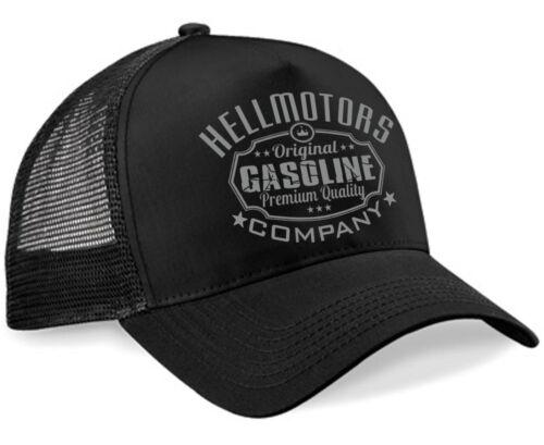Hellmotors Gasoline Unisex Trucker Cap Oldschool Rockabilly Kappe Hotrod V8 grau