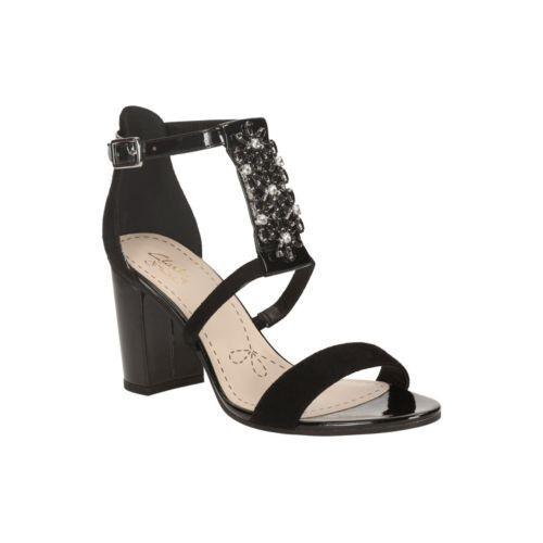 Clarks Demerara Swirl Black suede ladies heels size 6.5 40 D BNWB