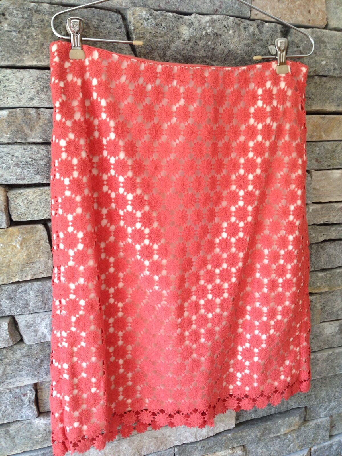 Talbots Daisy Eyelet Pencil Skirt - Coral - orange - Sz 10