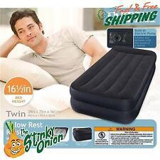 Air Bed Mattress Twin Inflatable Pillow Rest Raised Built In Pillow Pump Intex