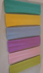 "Lot 6 PASTEL Headbands 2/"" wide continuous stretch LOT Nylon colors"