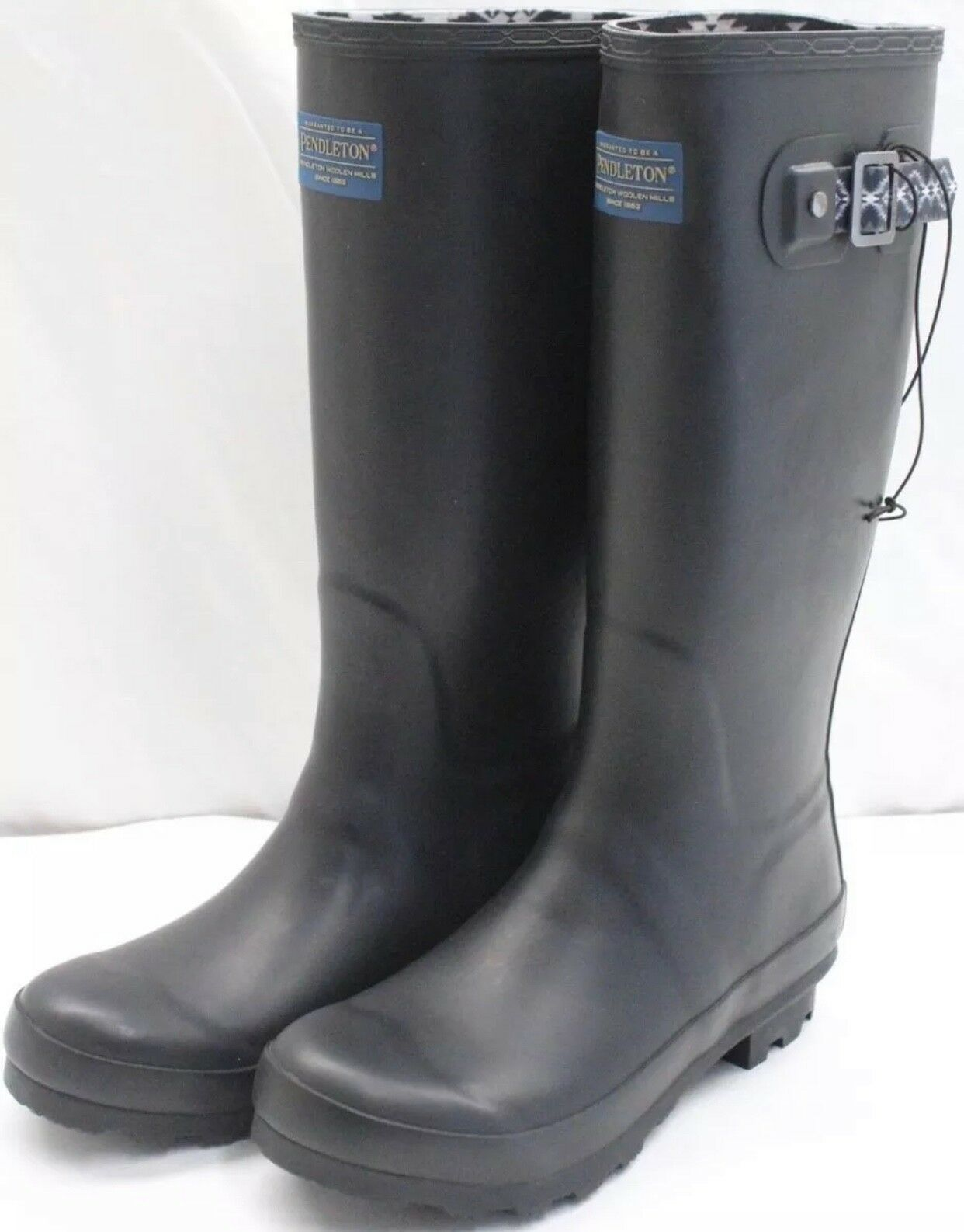 New   Pendleton Ladies Classic Rubber Boot Black Size 7 (D064)