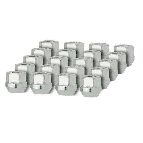 20 Silver 9//16-18 Open End Bulge Acorn Lug Nuts for Aftermarket Wheels