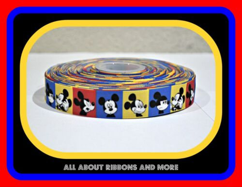 7/8 INCH MICKEY MOUSE BLUE, RED AND YELLOW SQUARES ON GROSGRAIN RIBBON- 1 YARD