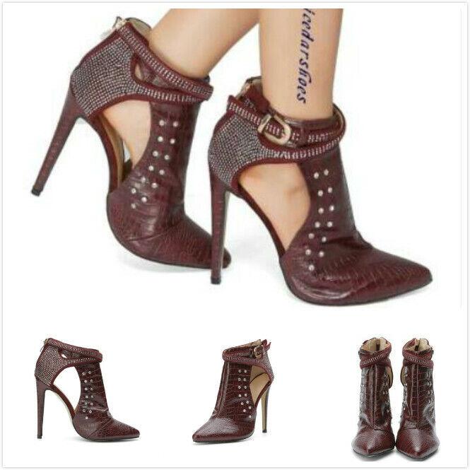 Sexy donna Leather Pointy Toe Rivet Sandal stivali High Heels Hollow Roman scarpe
