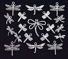 20 piece DRAGONFLY CHARM SET, size 14mm to 26mm, Antiqued Tibetan Silver