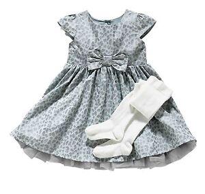 Girls-039-Occasion-Grey-Dress-Tights-Set-Wedding-Christening-All-Sizes-Free-UK-P-amp-P