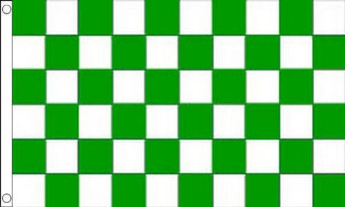 GREEN and WHITE CHECKERED FLAG 5/' x 3/' Leinster Fermanagh Limerick GAA Football