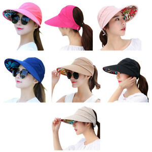 90c48f327d6 Women Sun Visor Hat Foldable Wide Brim Anti-UV Outdoor Summer Beach ...