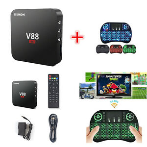 8G 4K V88 Android 5.1 Smart TV Box Quad Core Free Movies + Backlit Keyboard Set
