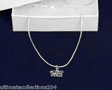 CANCER SUCKS Necklace Silver Support Awareness Charm Chain in Gift BOX NEW